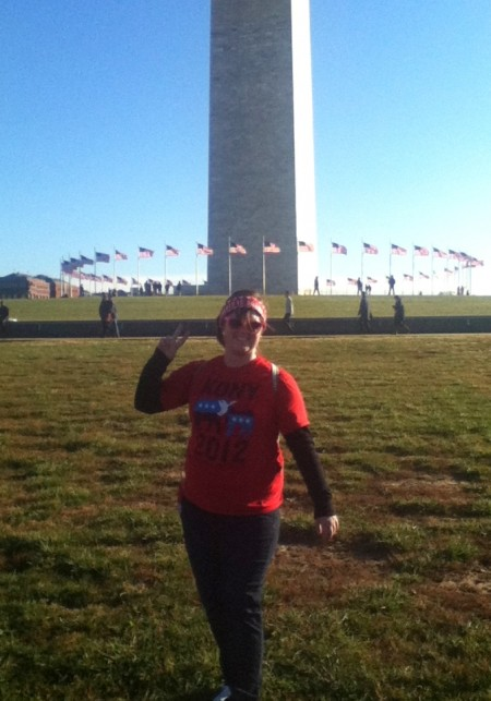 Bekah in front of the Washington Monument