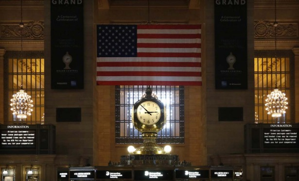 The Grand Central Terminal Clock sits above the information booth at the center of the main concourse at Grand Central Terminal in New York